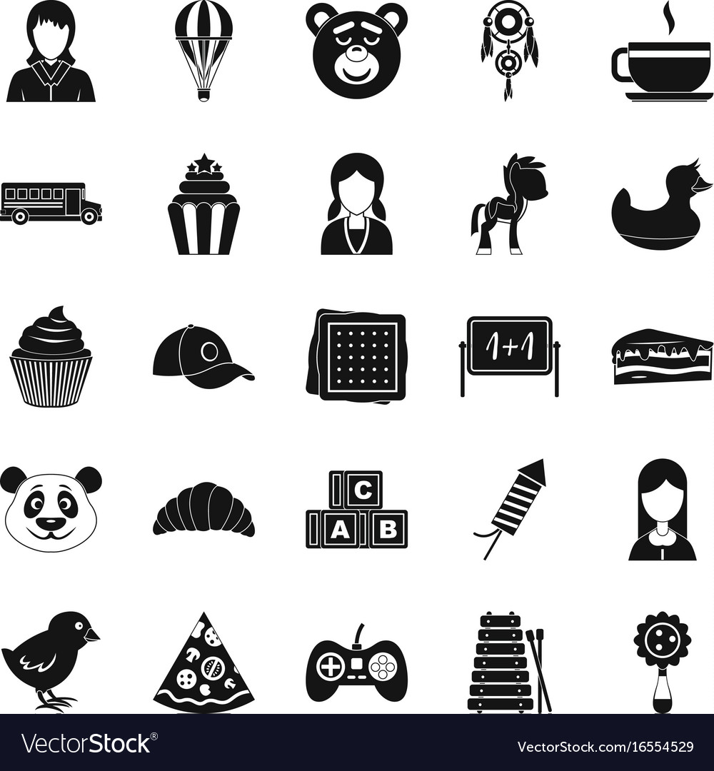 Kid center icons set simple style