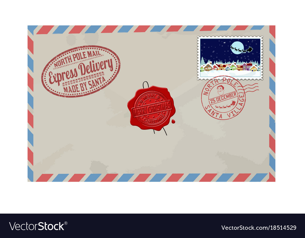 Letter from santa claus with stamps and postage vector image spiritdancerdesigns Images