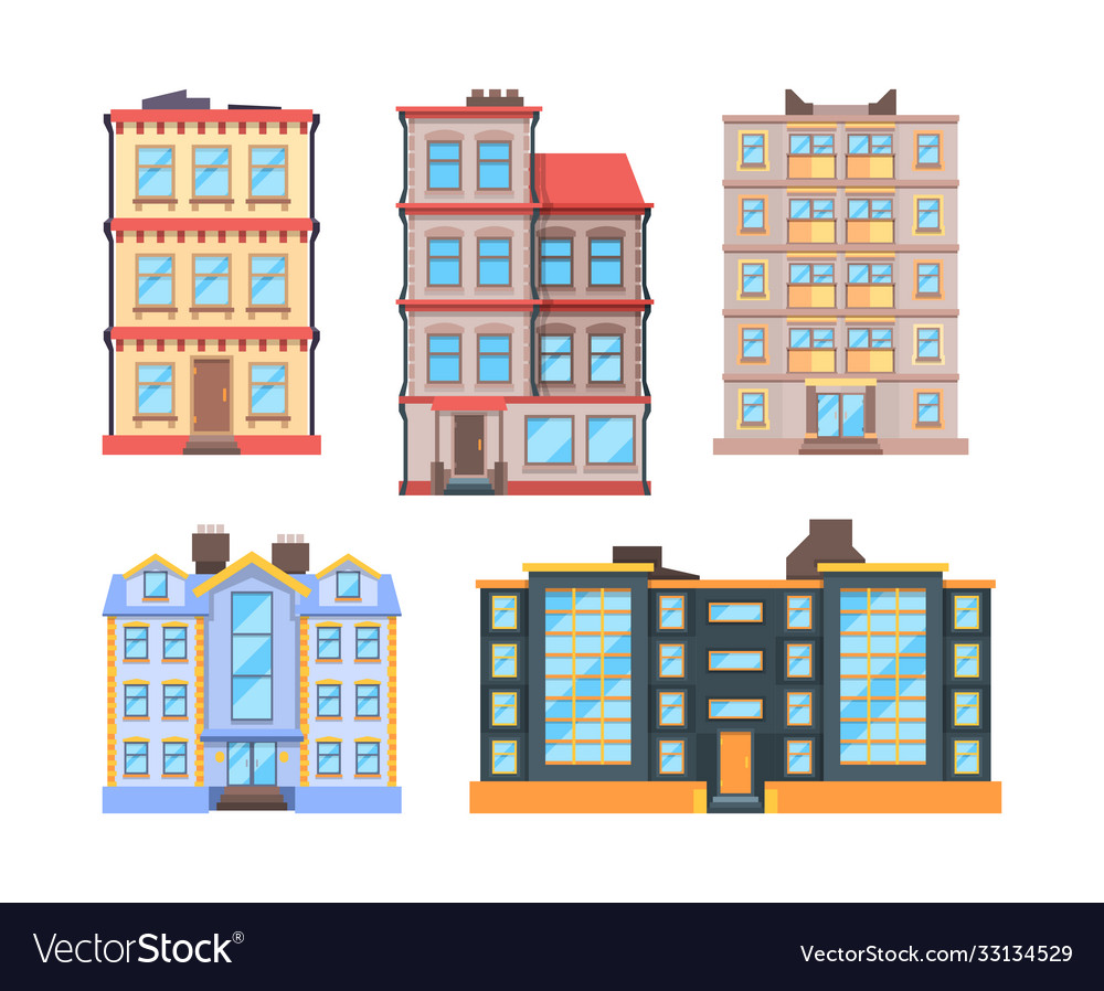 Living buildings flat style urban houses with 3