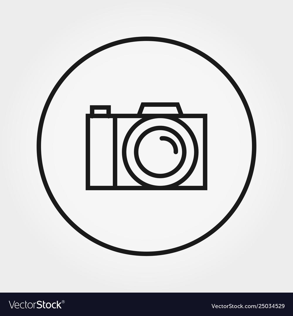 Photo camera icon editable thin line