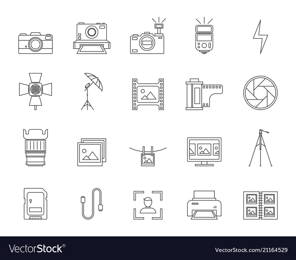 Photography signs black thin line icon set
