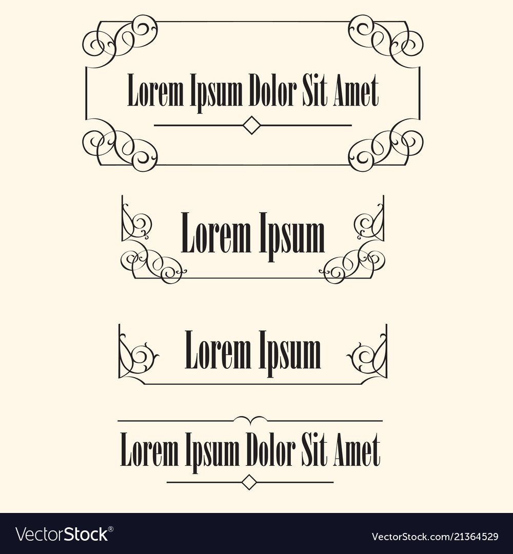 Set calligraphic frames borders with space