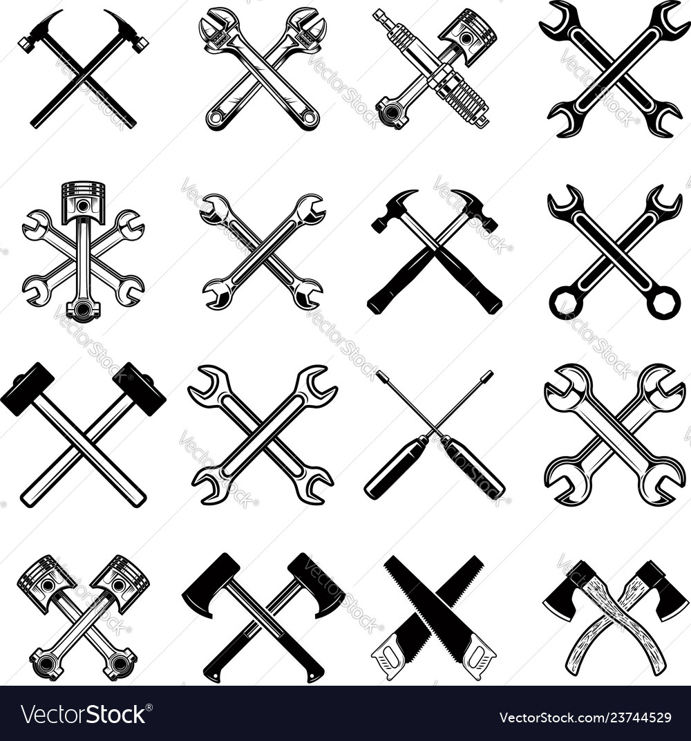 Set of crossed saws hammers pistons wrench axe Vector Image