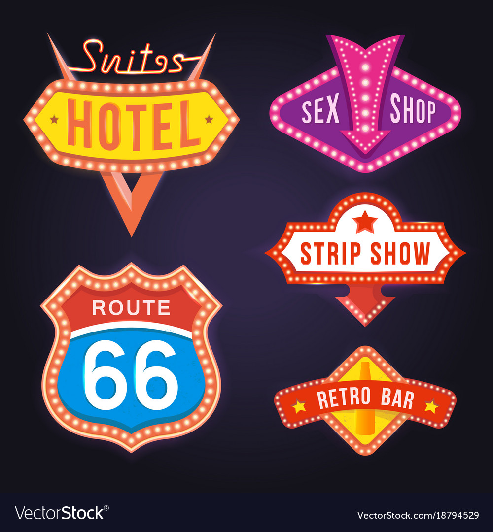 Set of retro neon signboards