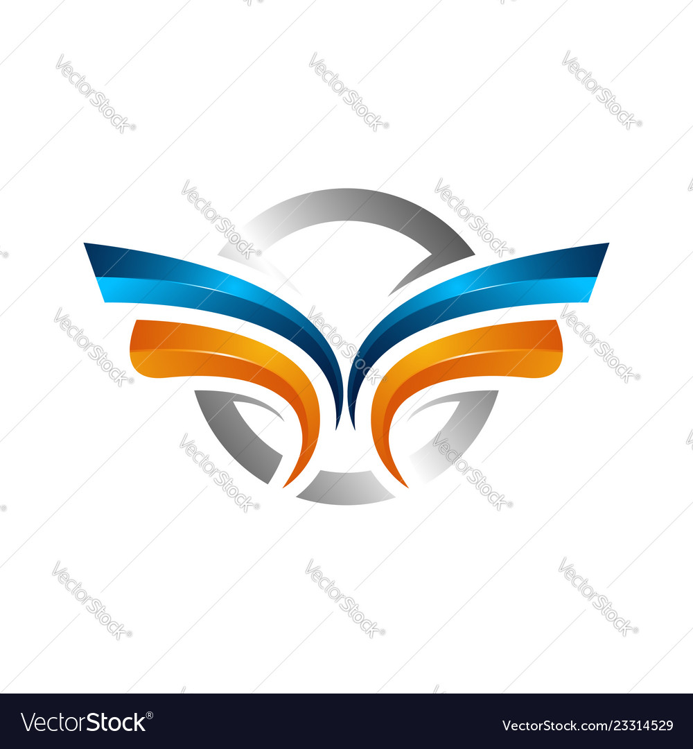 Strong wings abstract bold color logo winged