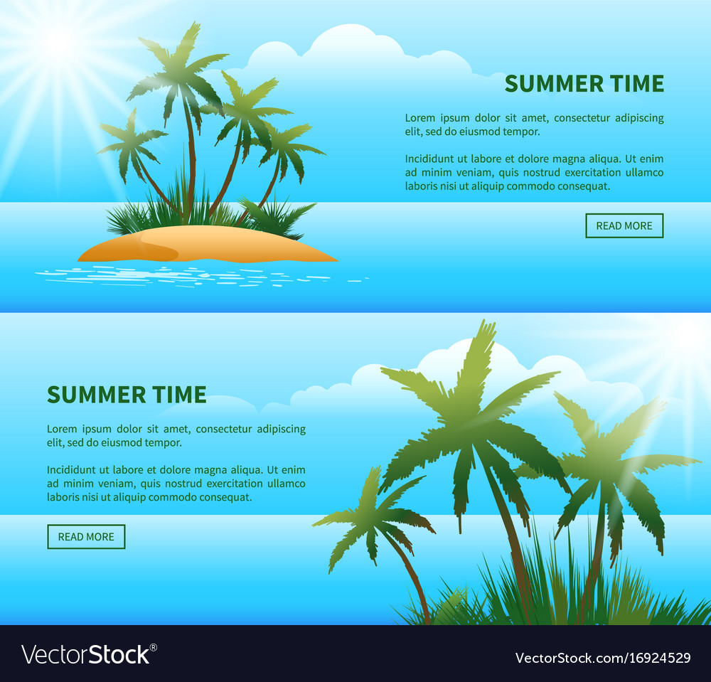 Tropical island palm trees web banners