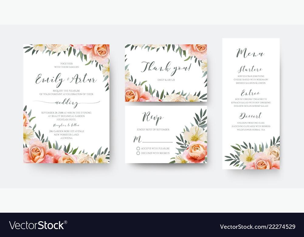 Wedding floral invite thank you rsvp menu card set