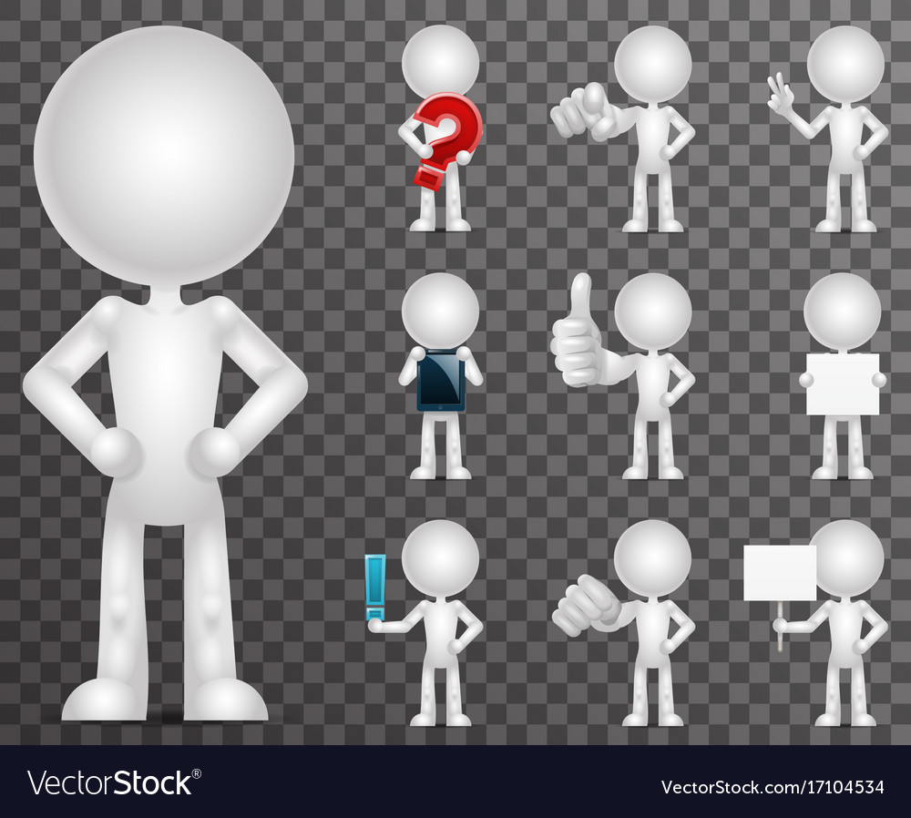 3d blank character cartoon empty isolated icons