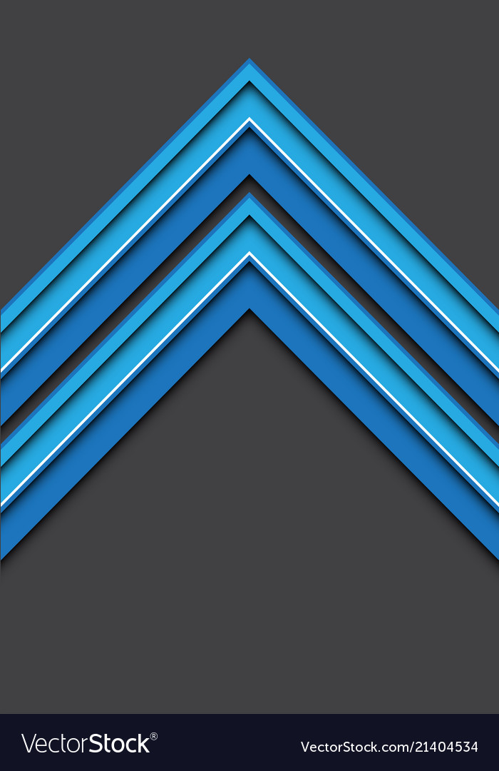 Abstract blue white line arrow 3d on gray blank