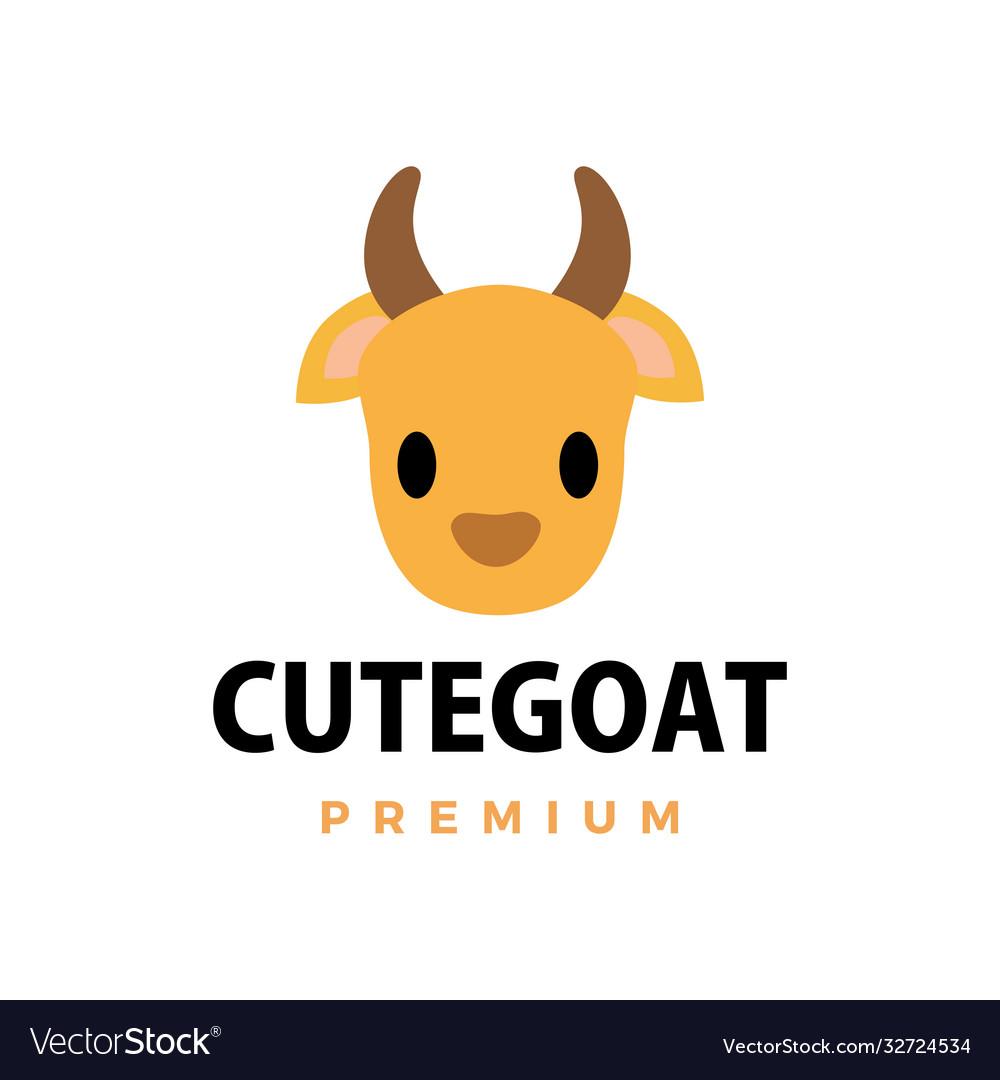 Cute goat flat logo icon