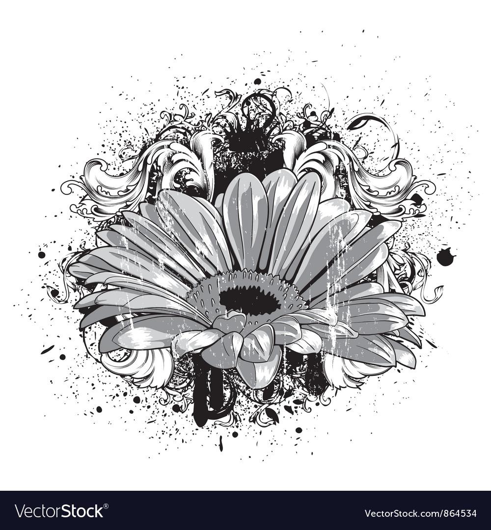 Flower with grunge