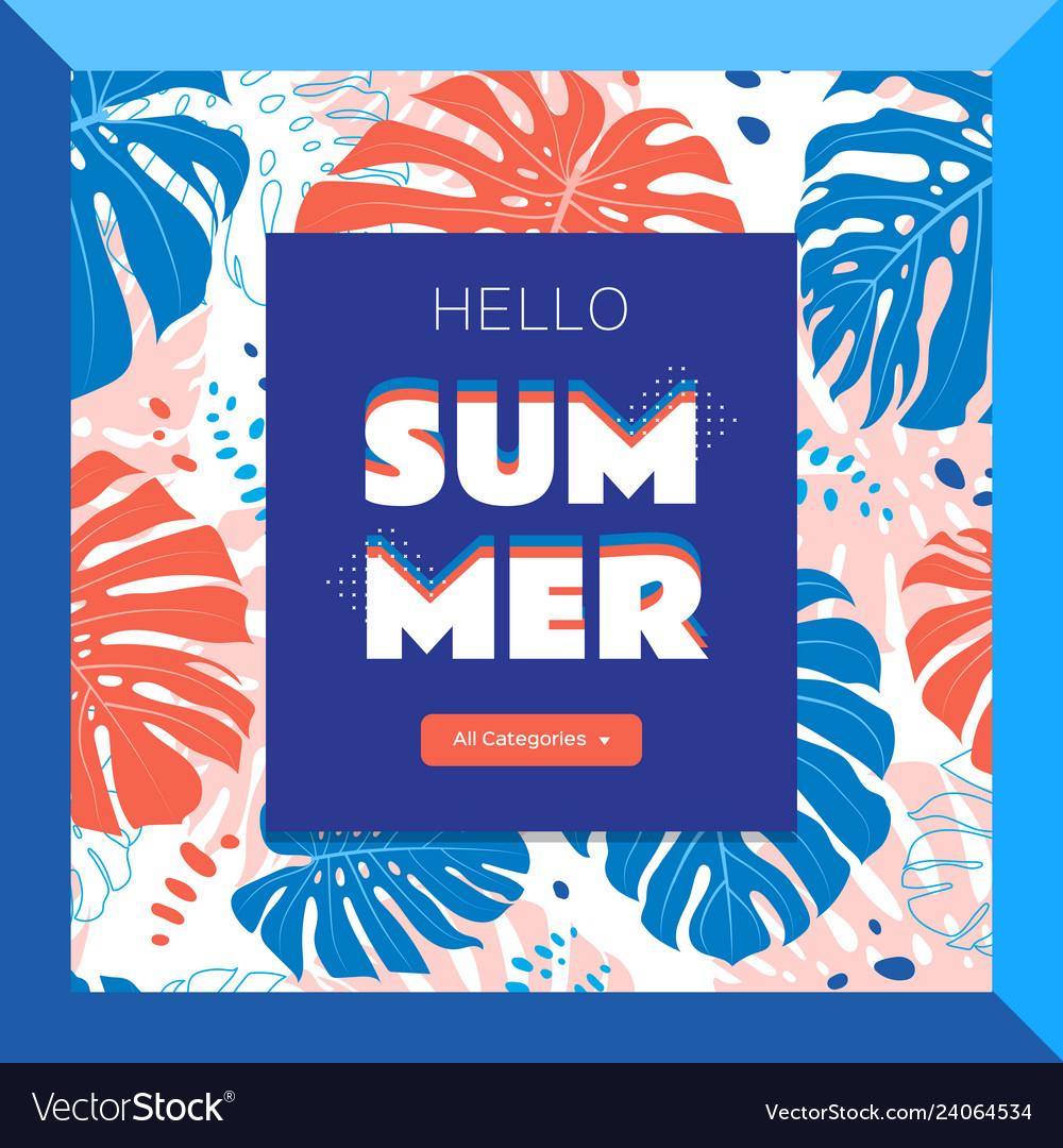 Hello summer web banner tropical leaves