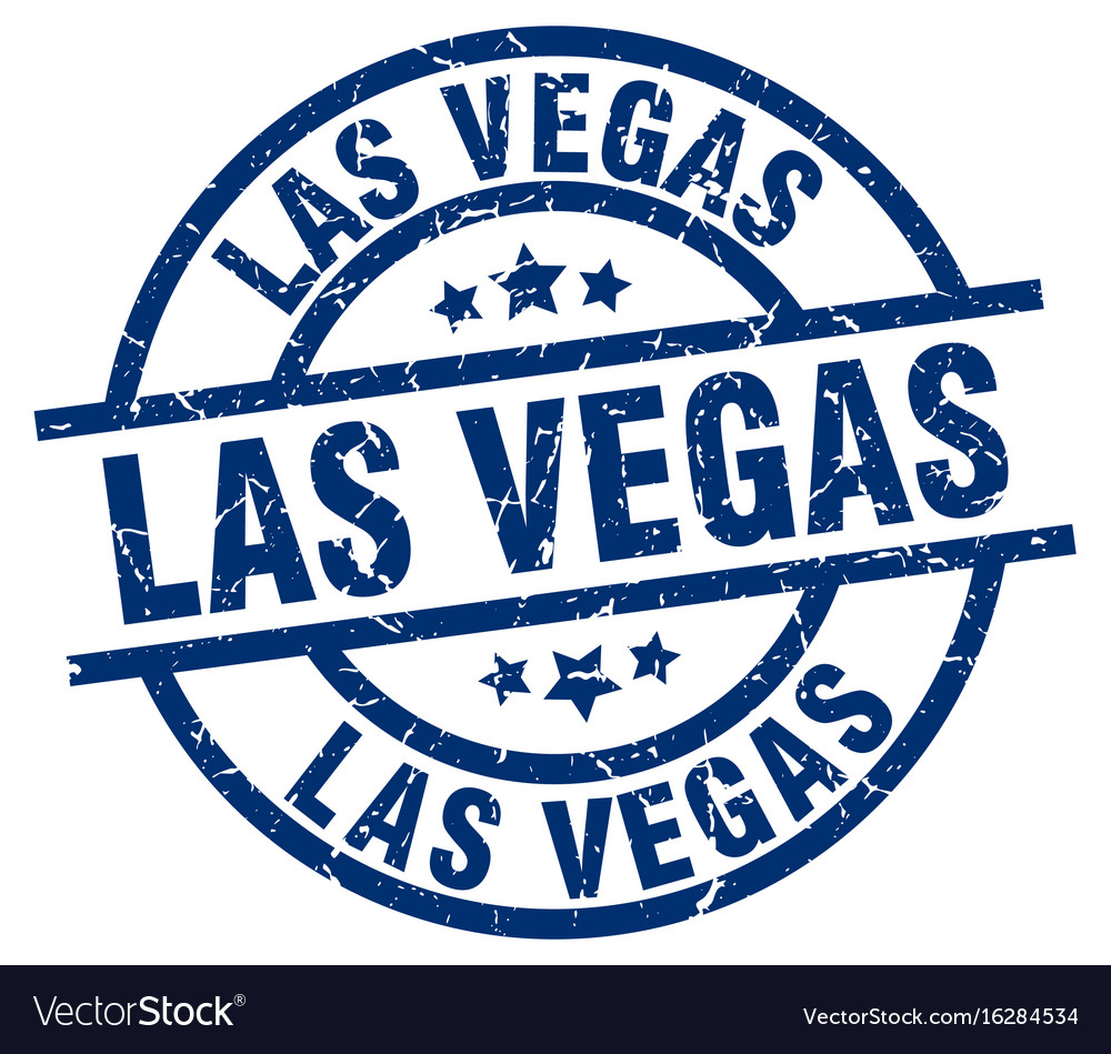 Las vegas blue round grunge stamp vector image