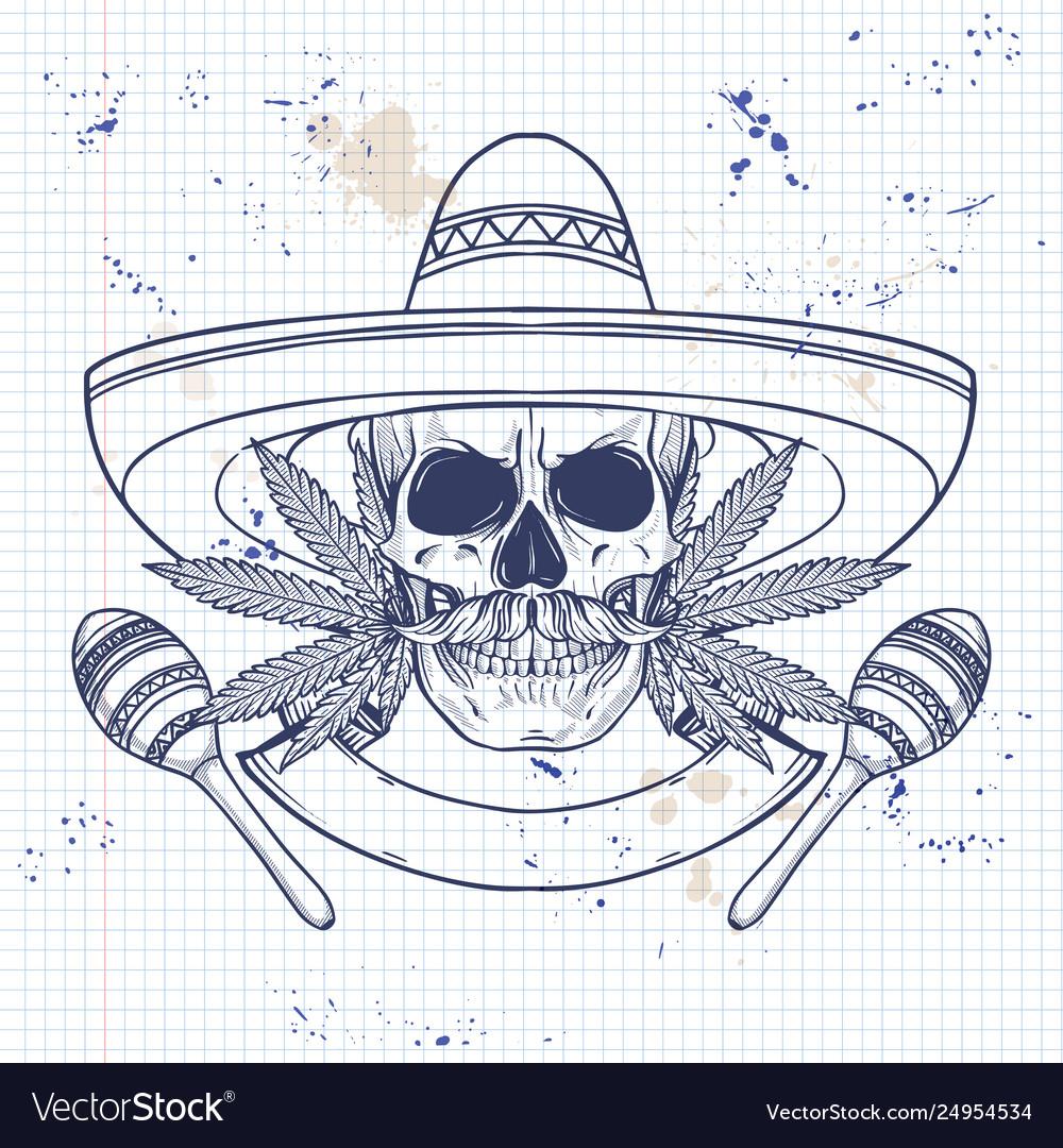 Mexican sketch skull