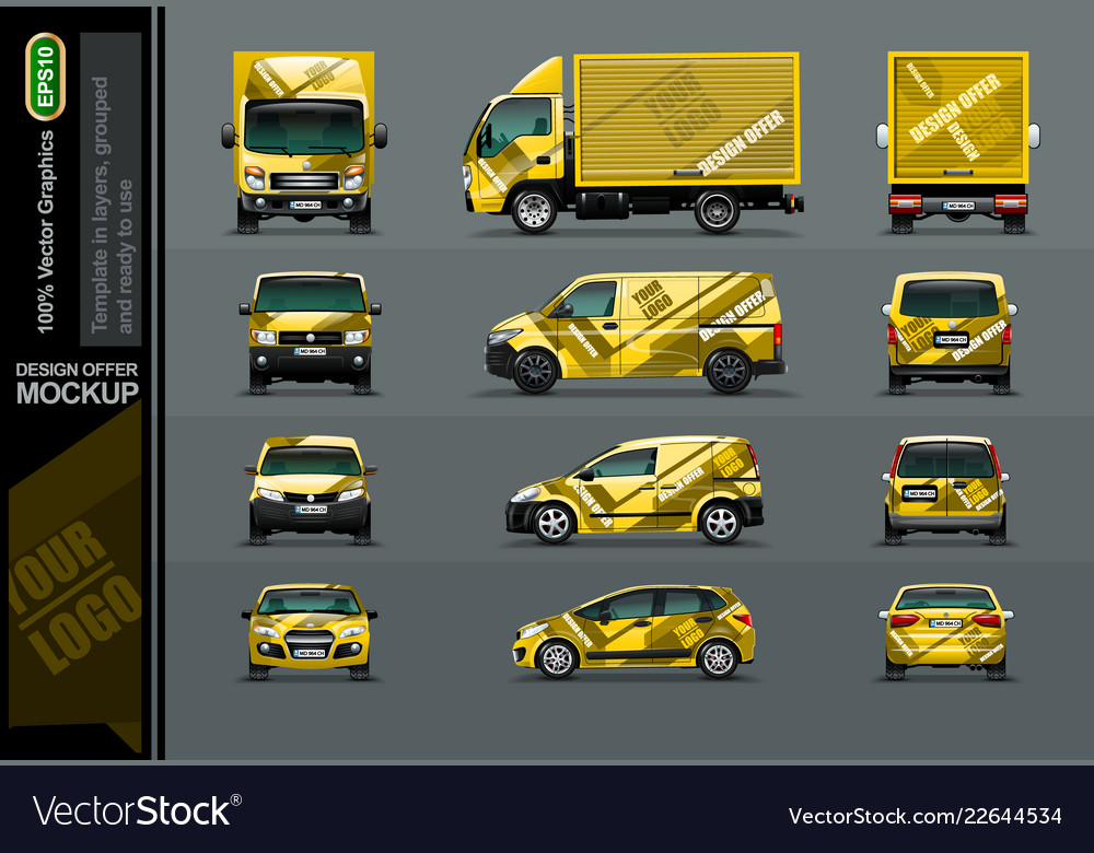 Set of yellow cars in tree position for the