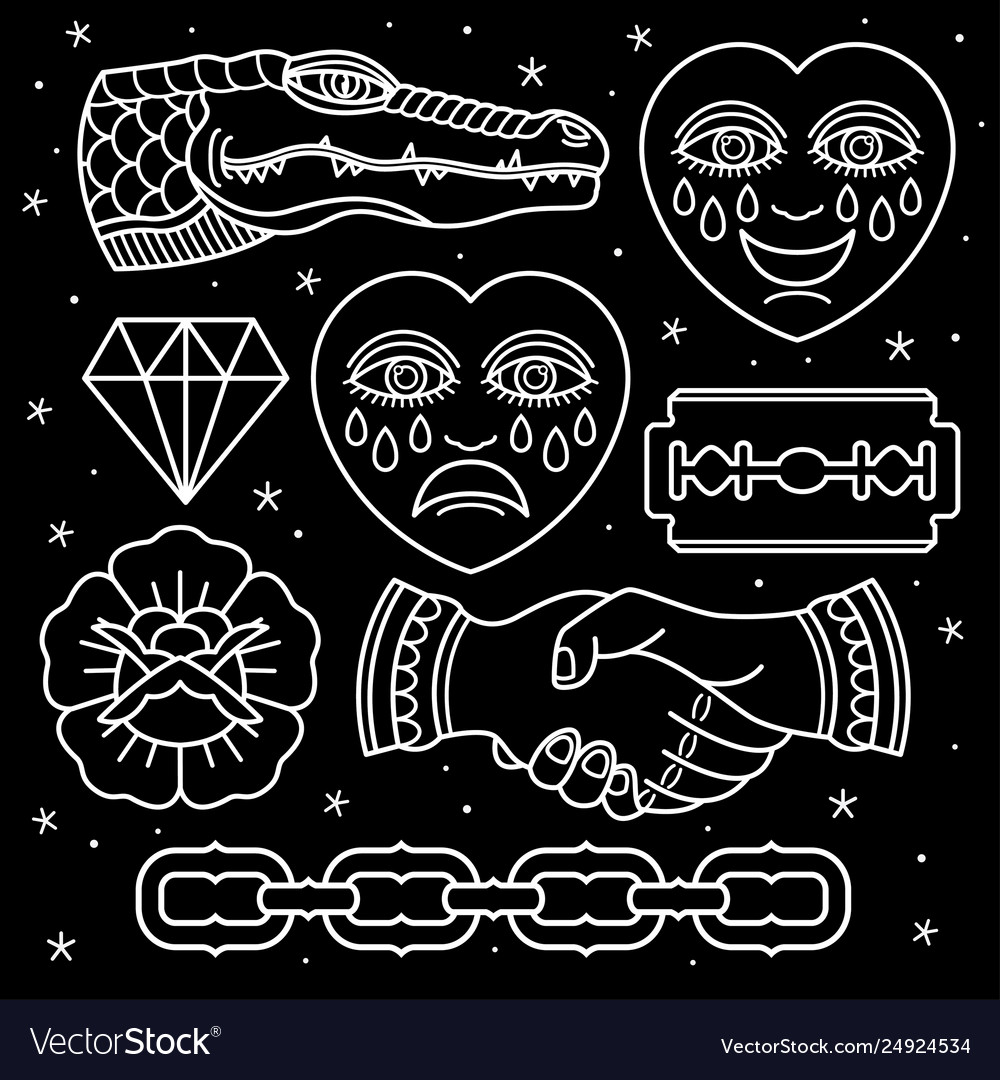 Set Pattern Flash Tattoo Royalty Free Vector Image