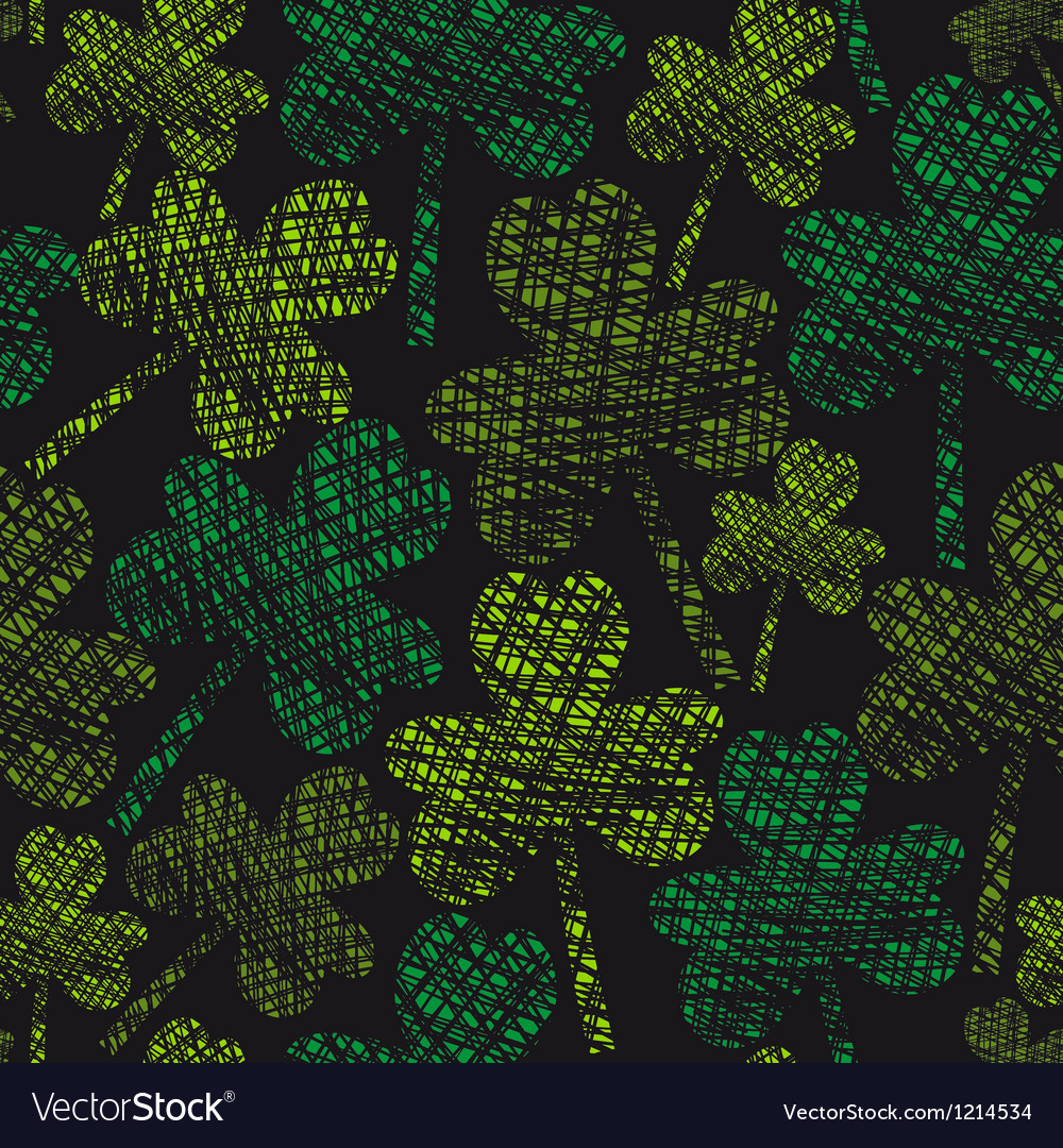 St Patricks Day vintage seamless clover pattern vector image