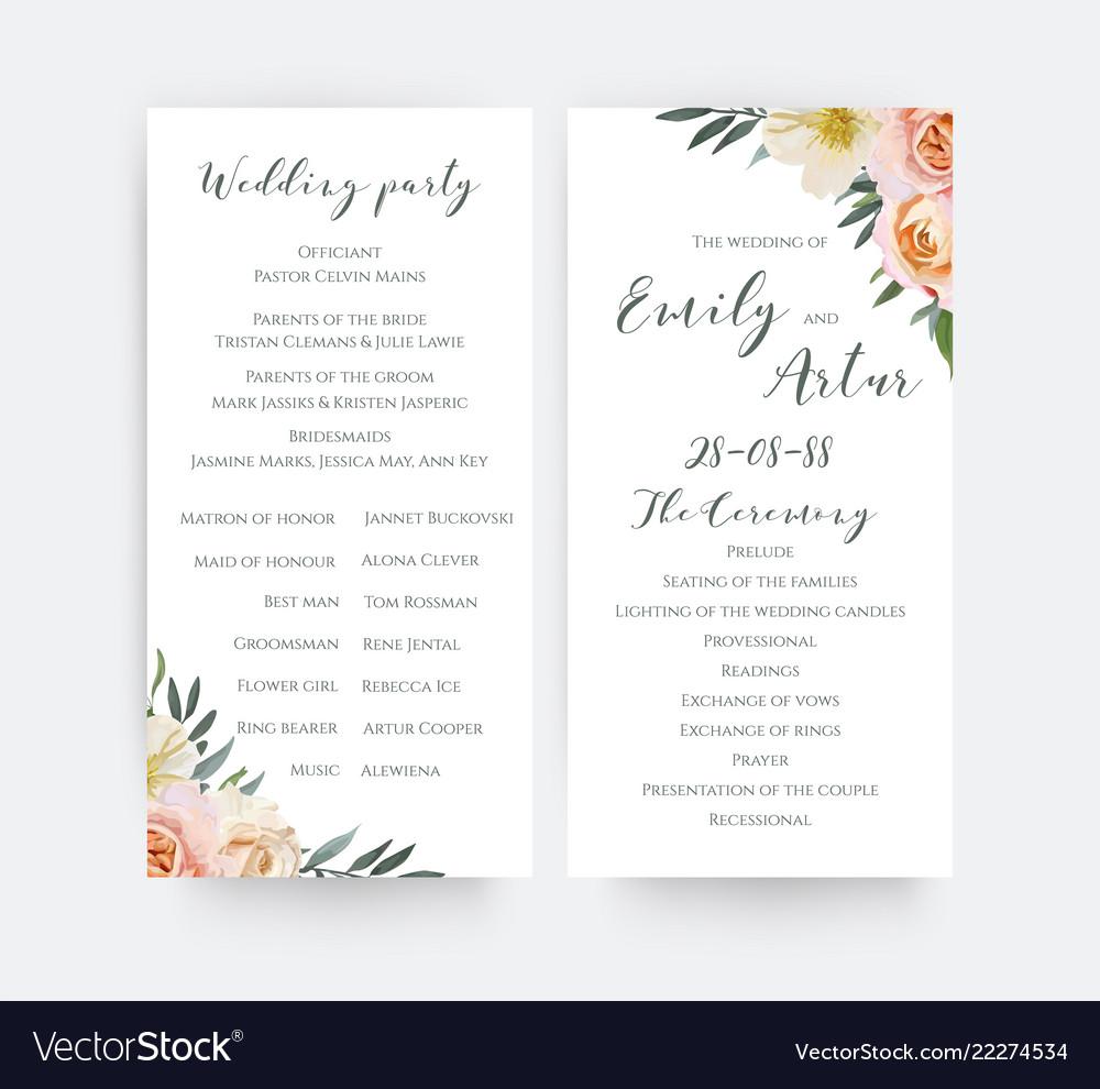 Wedding floral watercolor party ceremony program