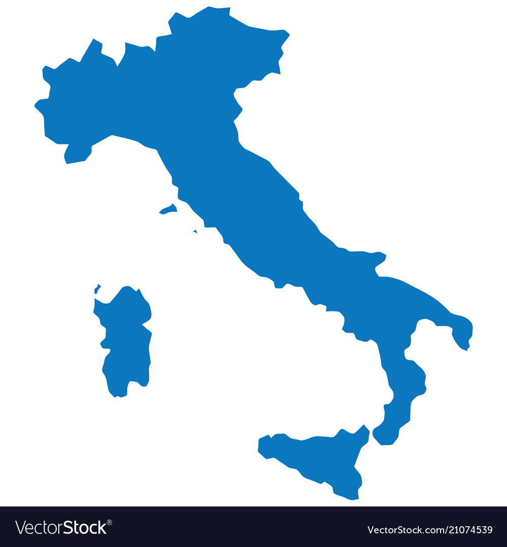 Blank blue similar italy map isolated on white bac