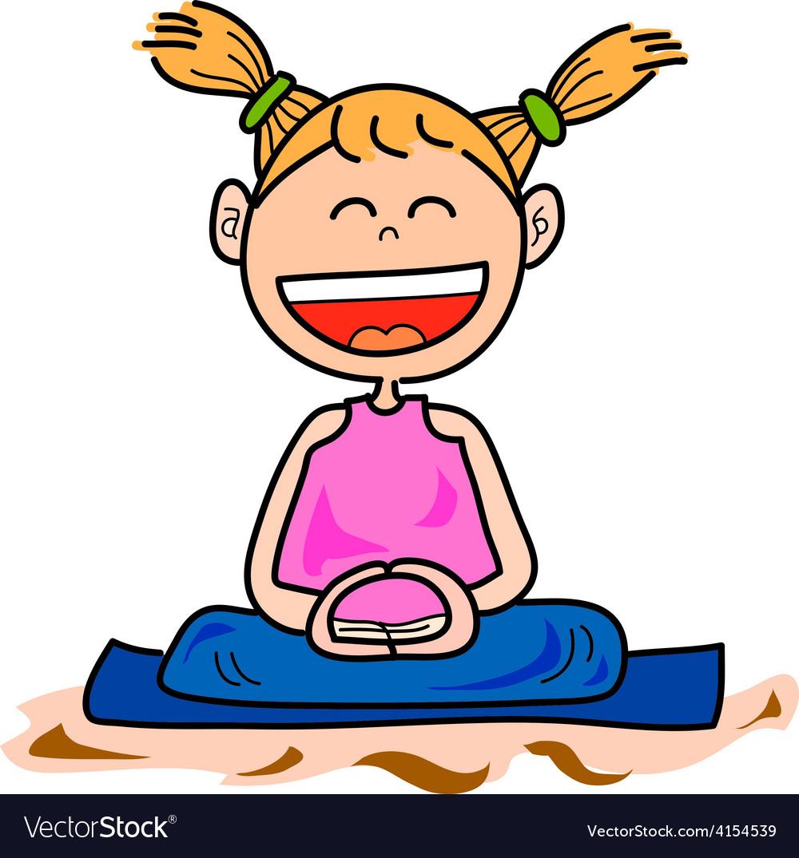 Cartoon happy kids meditation vector image