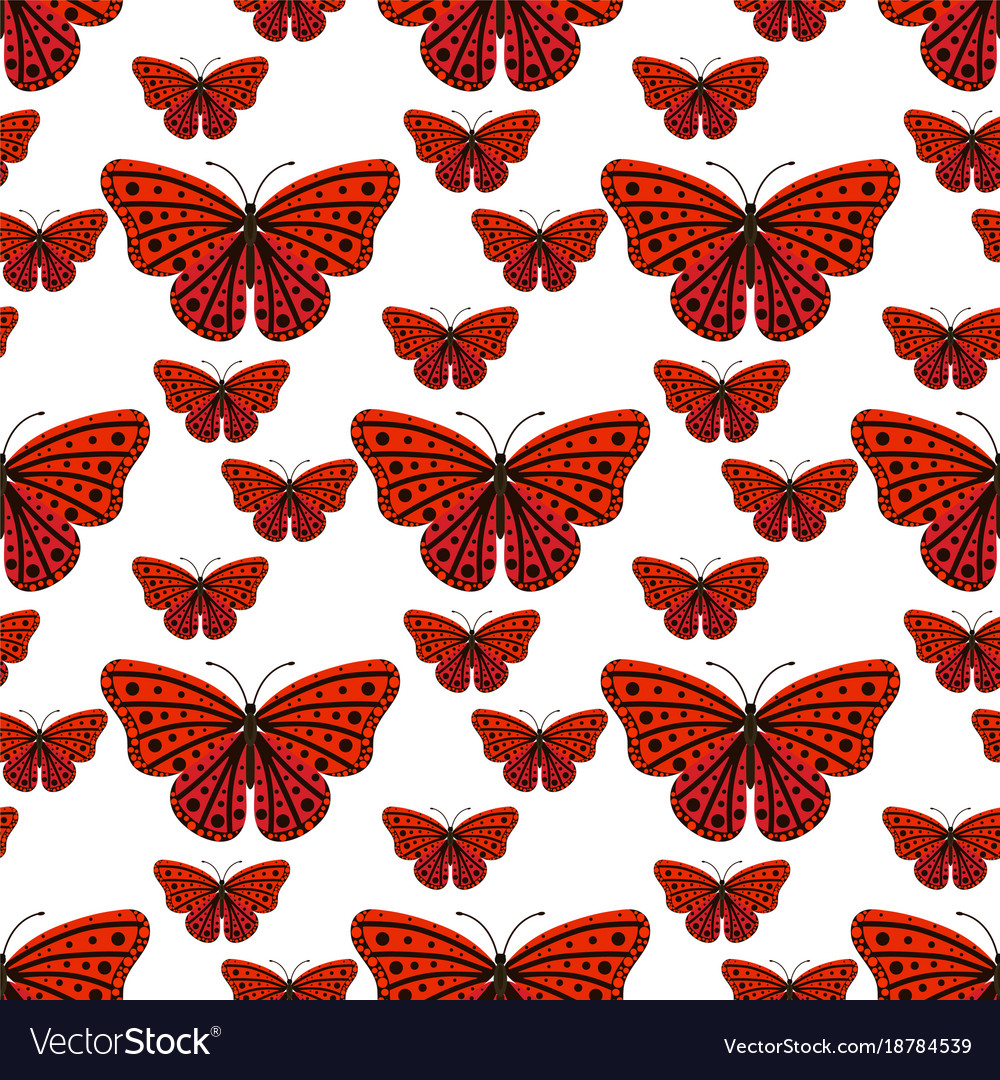 Colorful butterflies with abstract decorative