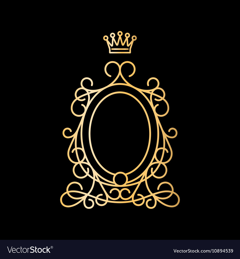 Vintage frame design oval Antique Golden Vintage Oval Frame With Crown Vector Image Vectorstock Golden Vintage Oval Frame With Crown Royalty Free Vector