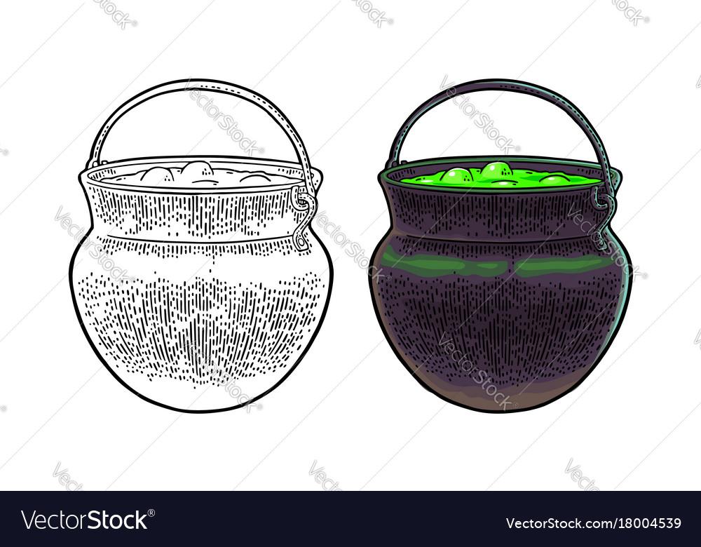 Halloween cauldron magic pot with bubbles