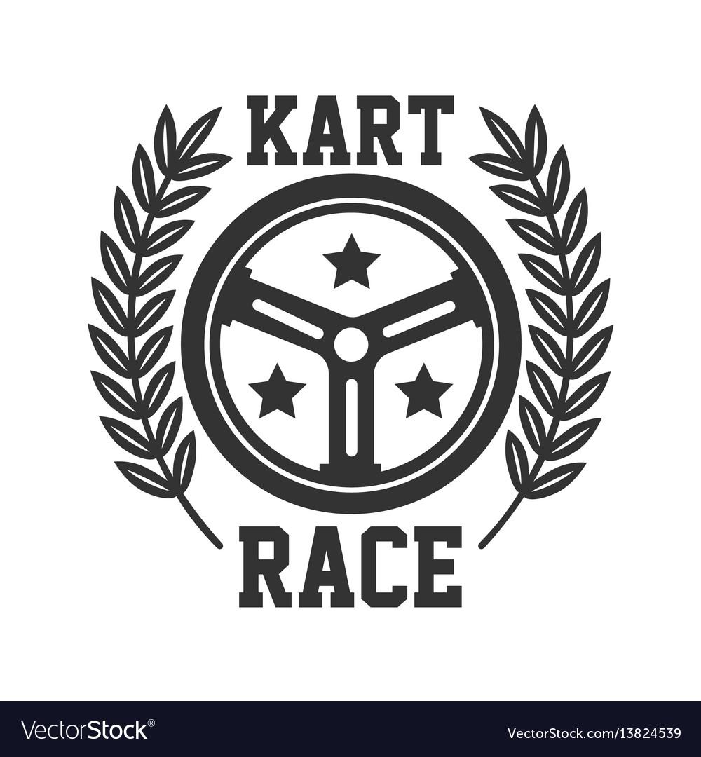 Kart race logotype with steering wheel isolated on vector image