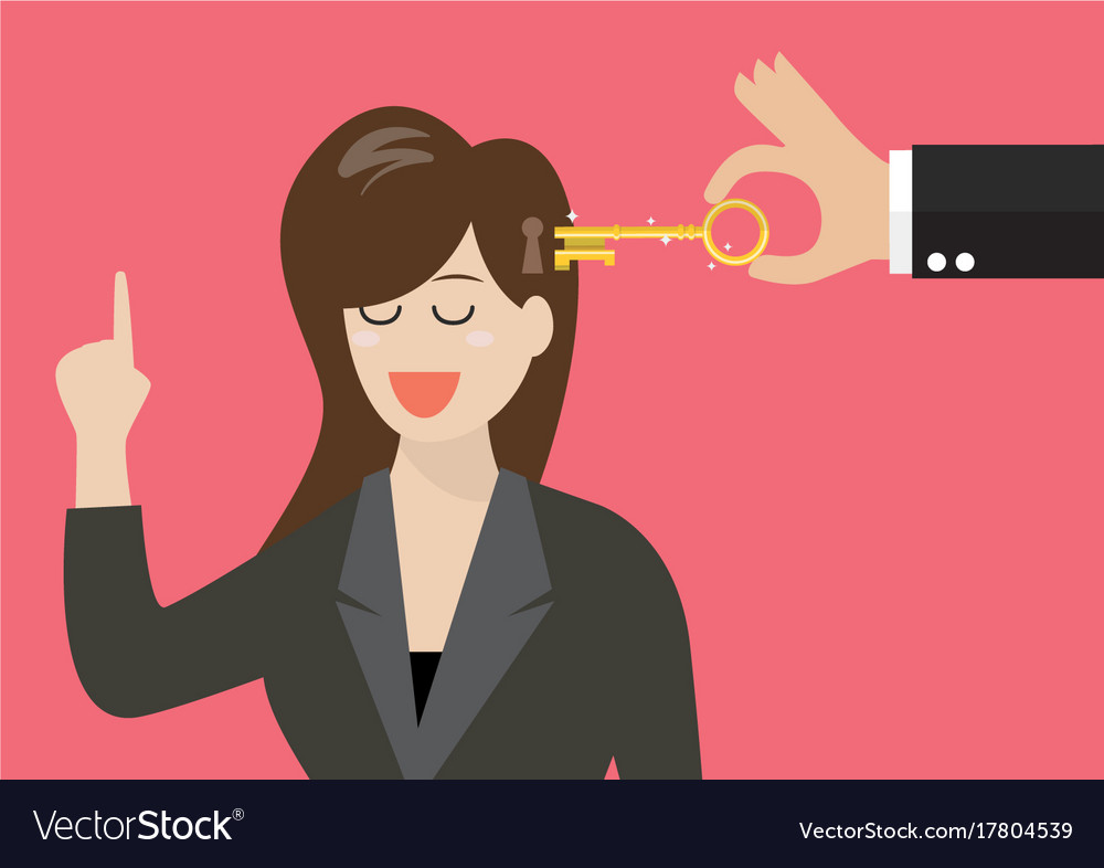 Man holding a key unlocking business woman mind