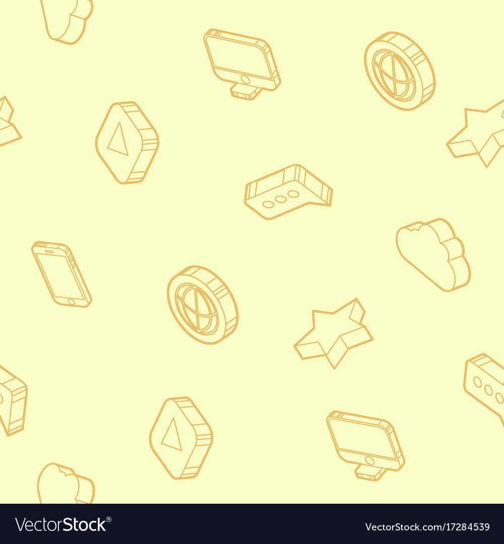 Media outline isometric icons pattern