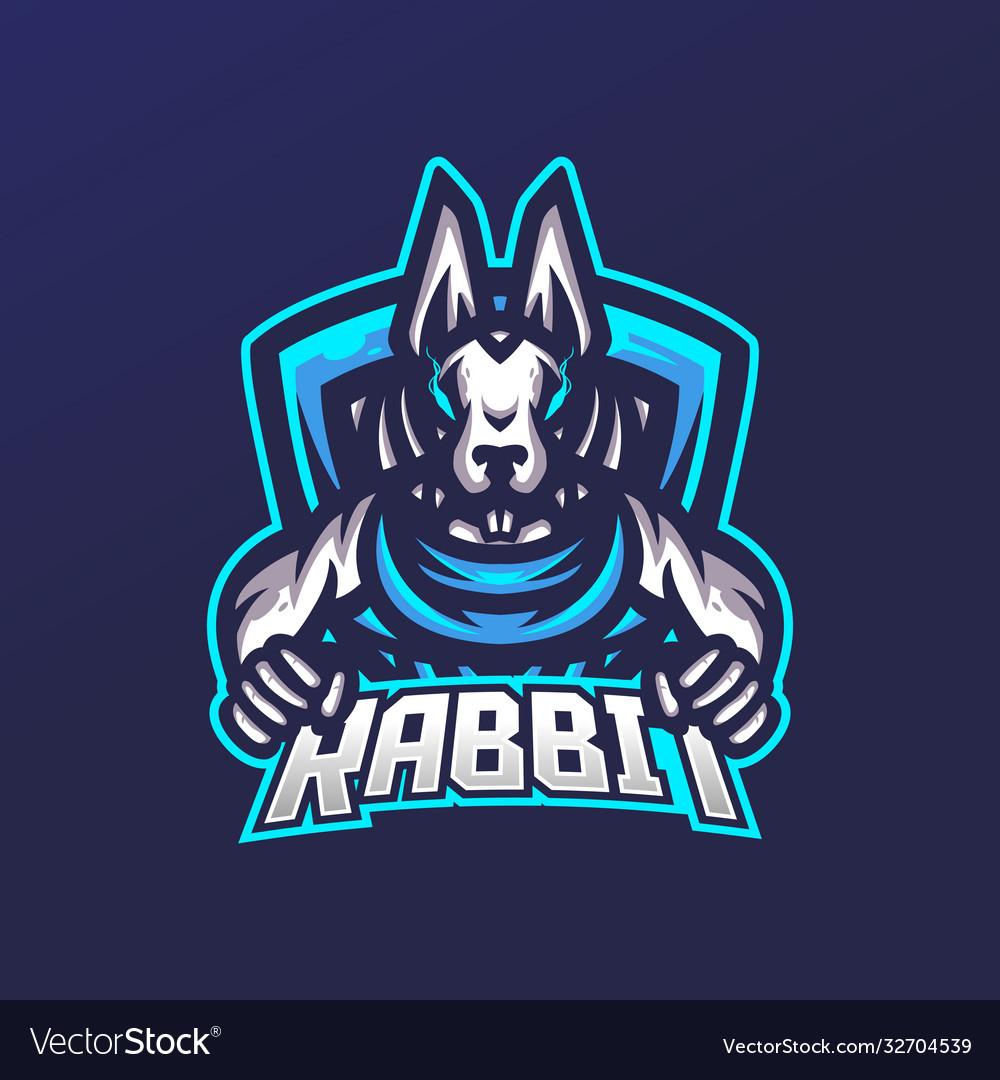 Rabbit esport gaming mascot logo template