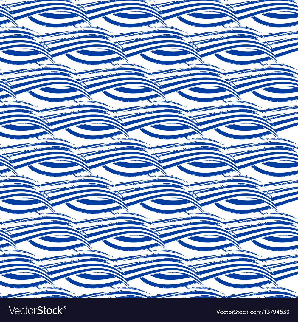 Seamless pattern with hand drawn waves