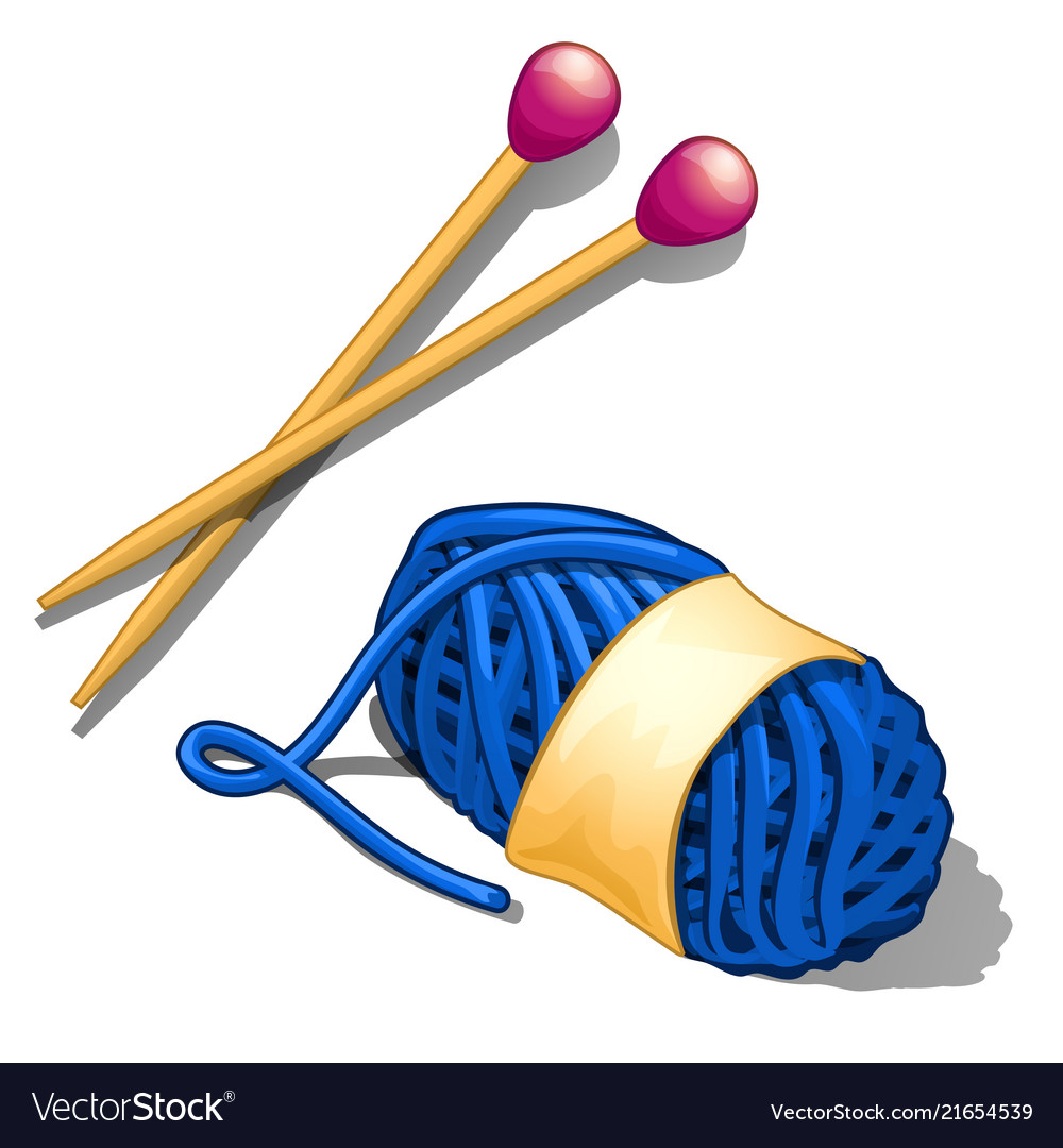 Set Of Blue Tangle Of Wool Yarn And Knitting Vector Image