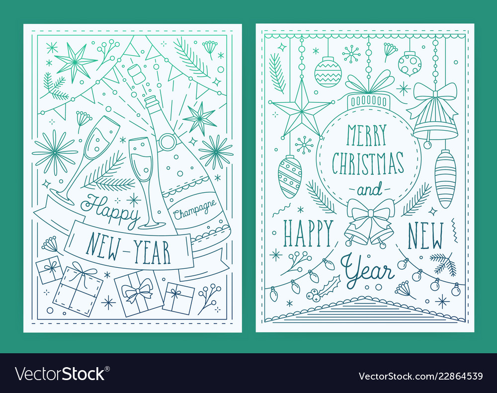 Two christmas and new year greeting cards with