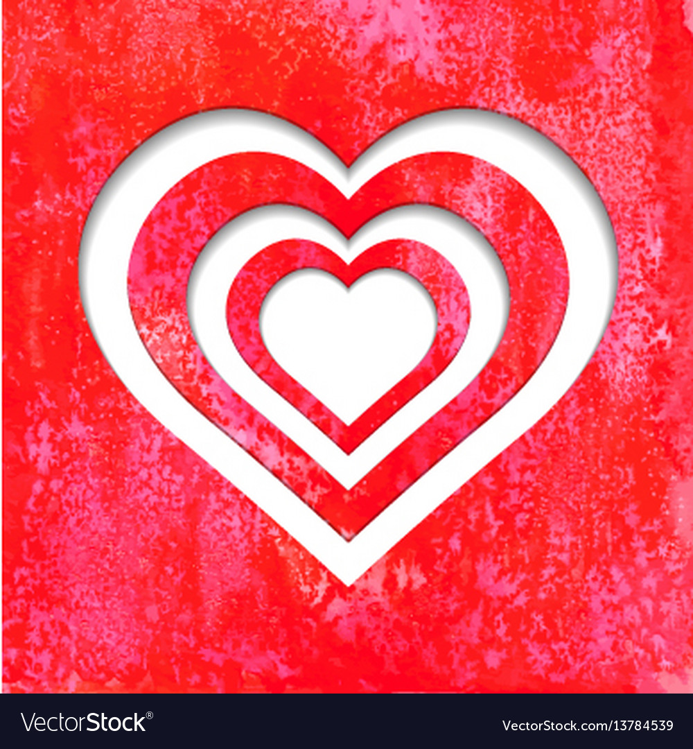 Valentine hearts on red watercolor background