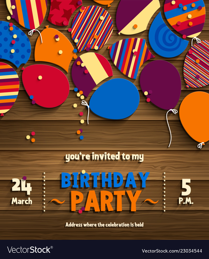 Birthday Party Invitation Card With
