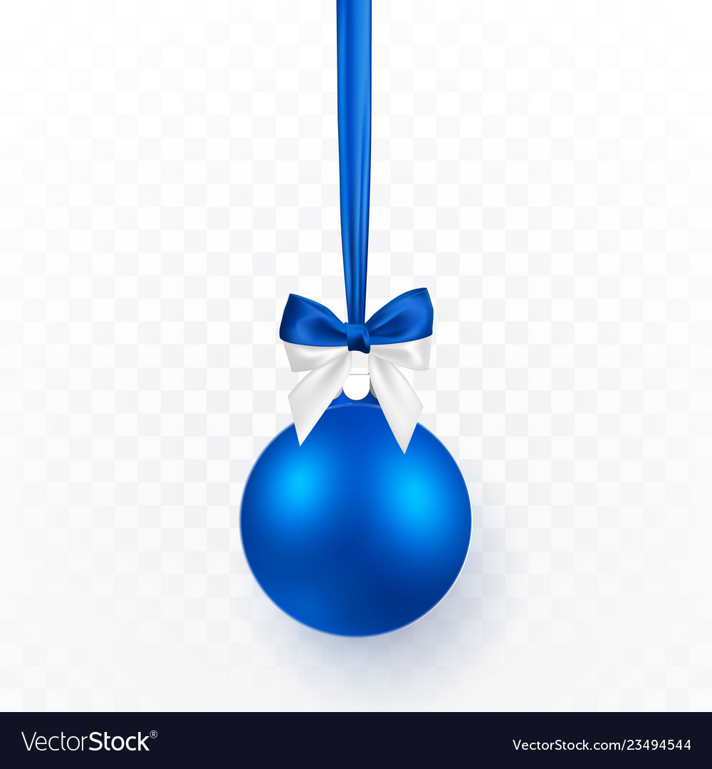 Blue christmas ball with blue bow xmas glass ball