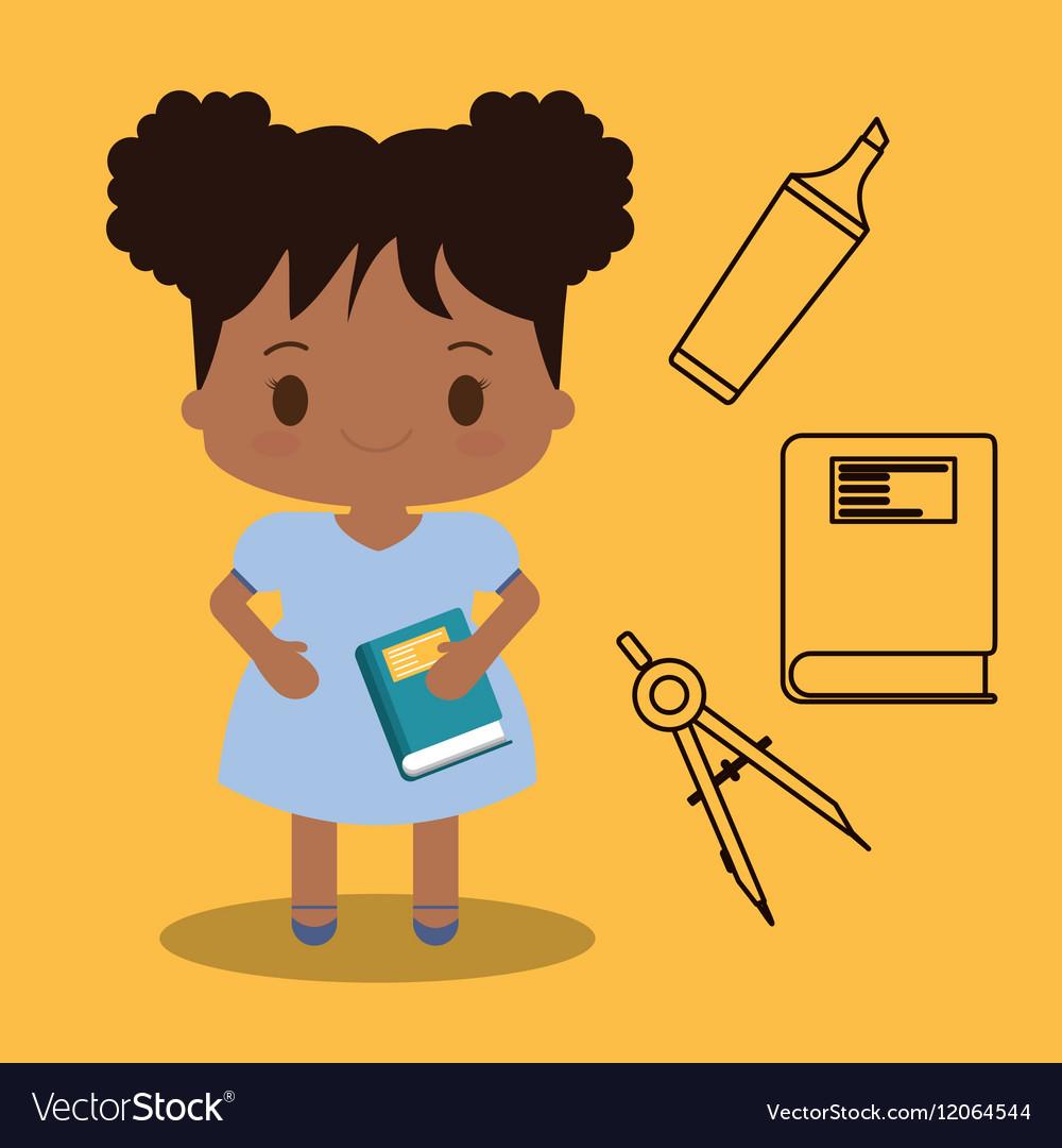 Cartoon girl book elements school yellow vector image
