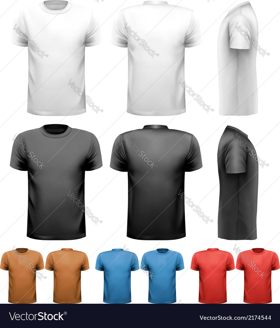 9658a307 Colorful male t-shirts Design template Royalty Free Vector