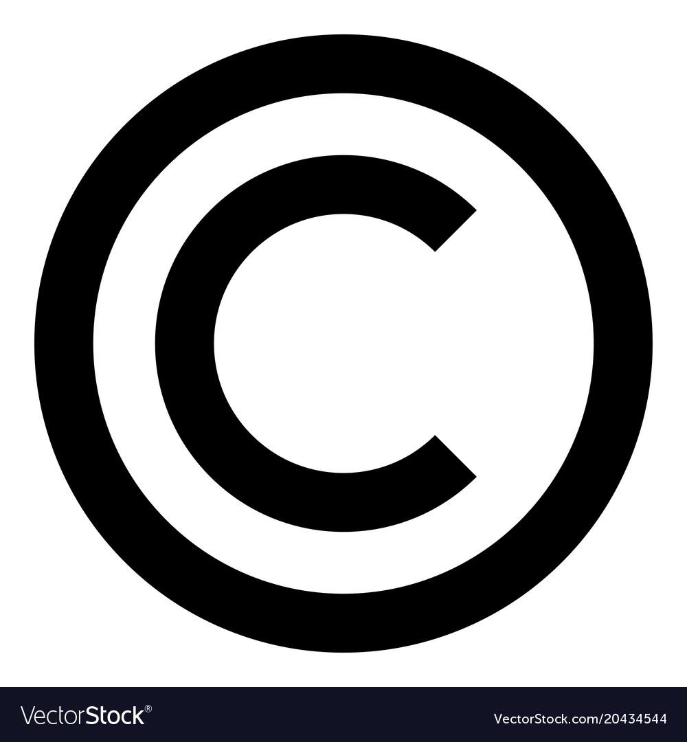 Copyright Symbol Icon Black Color Flat Style Vector Image