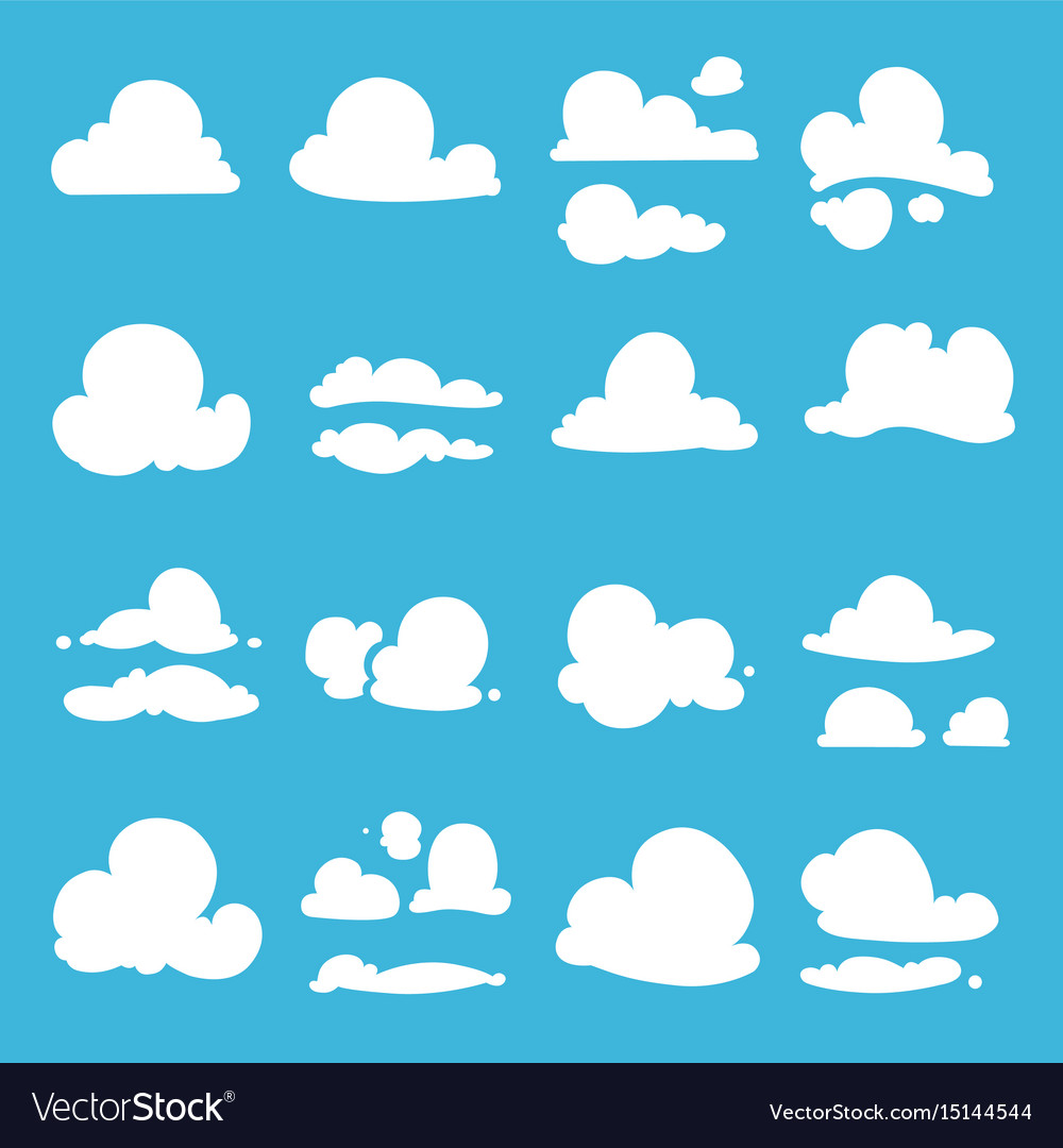Different clouds in cartoon style vector image