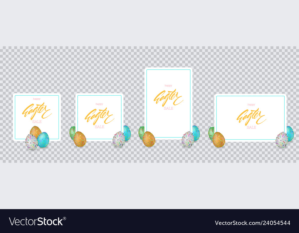 Easter banners with multicolored eggs on