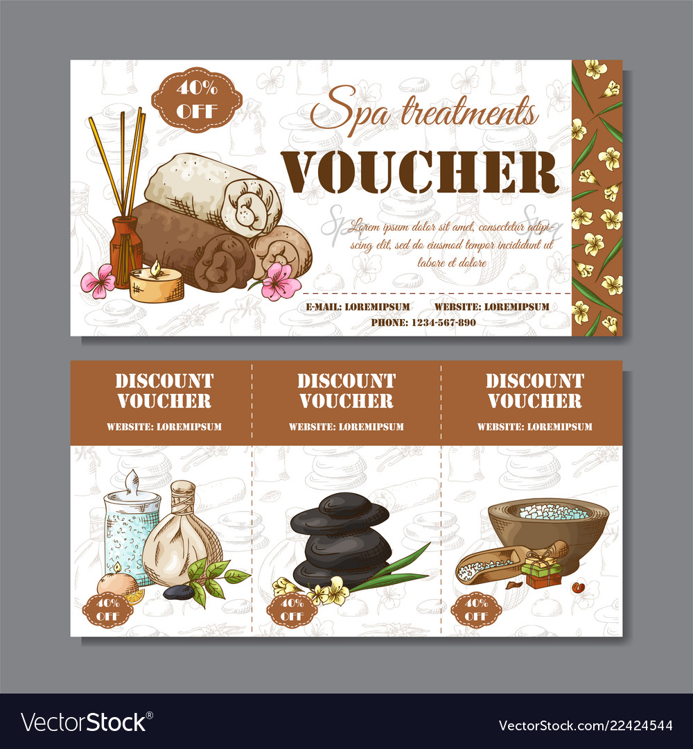 Gift voucher template with spa elements