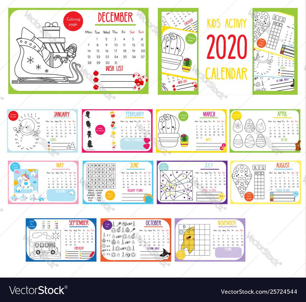 2020 Annual Calendar.Kids Activity Calendar 2020 Annual Calendar With