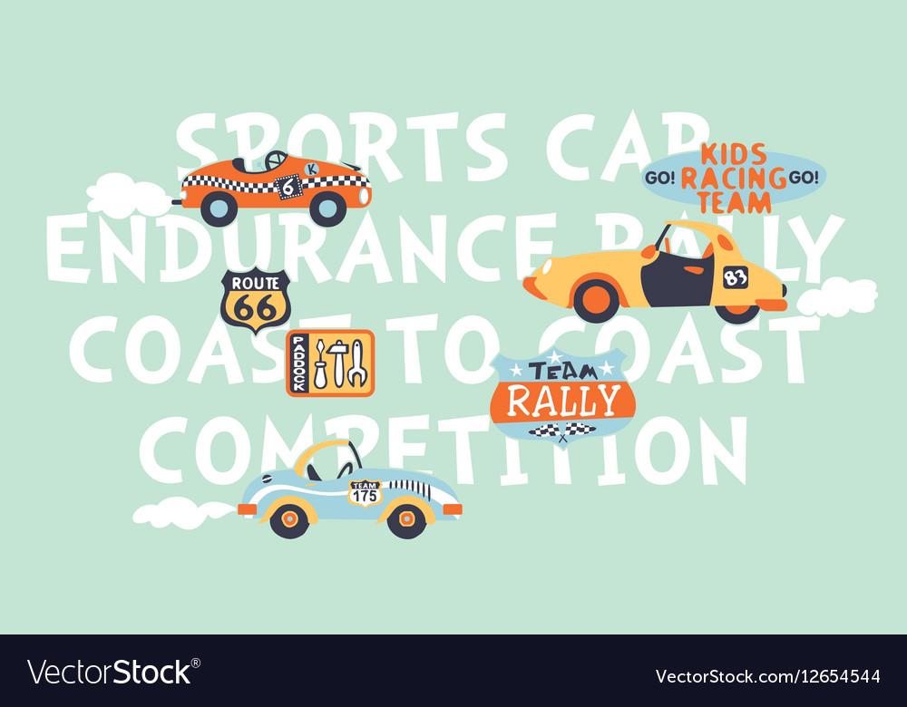 Kids cute racing team vector image