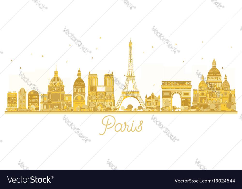 Paris city skyline golden silhouette