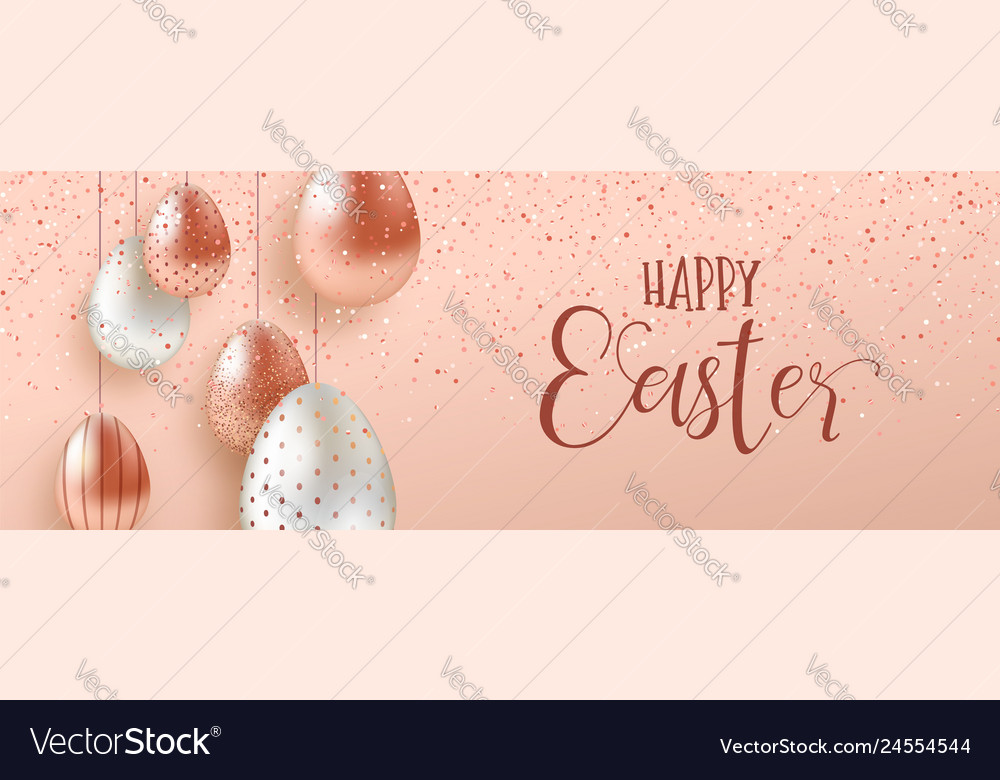 Pink copper easter eggs luxury web banner