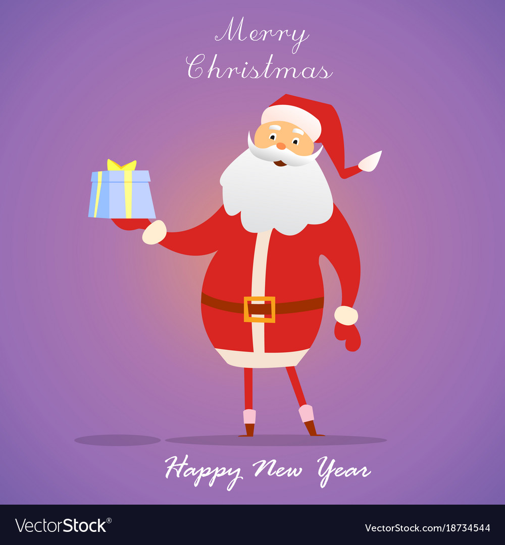 Santa claus with gift on purple background happy