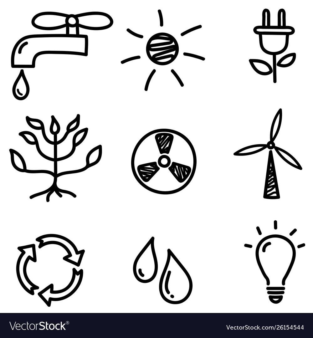 Set hand drawn black eco doodle icons