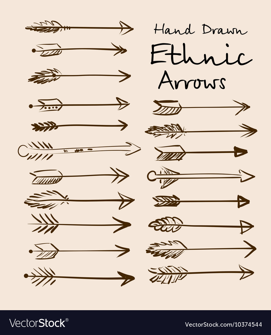 Set of ethnic arrows hand-drawn on a beige